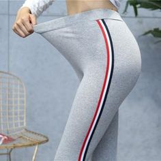 f9809c51b6b767 High Quality Cotton Leggings Side stripes Women Casual Legging Pant Plus  Size 5XL High Waist Fitness Leggings Plump Female