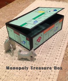 Monopoly Treasure Box -  made from an actual Monopoly game board and electrical tape