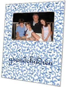 Blue Waverly Scroll Decoupage Phoot Frame - Can be Personalized $58.00 (USD).  Product in photo is from www.wellappointedhouse.com