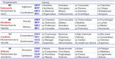 synthèse des 16 types