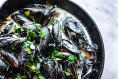 Easy classic French mussel recipe in a white wine cream sauce