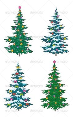Christmas Tree with Decoration  #GraphicRiver         Set Christmas holiday trees with decorations, isolated on white   Vector EPS 8 plus AI CS 5 plus high-quality Jpeg. Editable vector file, containing only vector shapes. No gradients. No transparencies.     Created: 30July13 GraphicsFilesIncluded: JPGImage #VectorEPS #AIIllustrator Layered: Yes MinimumAdobeCSVersion: CS5 Tags: ball #bell #card #cartoon #