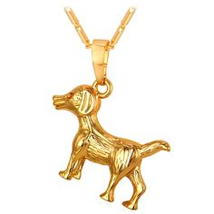 Cute Dog Necklaces & Pendants Women Men Pendant Necklaces 18K Real Gold/Platinum Plated Jewelry