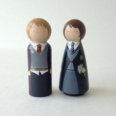 Custom Harry Potter Peg Dolls // Wedding Cake Topper by PegHeads, $60.00