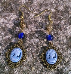 Blue Cameo Earrings from Toremore Crafts by DaWanda.com
