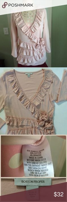 """Boston Proper 💕Cute💕 Top Ruffles upon Ruffles with three flower cluster detail front left and a deep """"V"""" neck this blush pink top is 17"""" across chest laying flat and about 25"""" long. 3/4 sleeve with a Rayon Cotton blend its soft and nice...Bundle 2 to Save 15% ⚡️📦📫😄💕 Boston Proper Tops"""