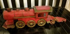 Vintage red tin steam engine train, Hill climber floor train 1920s  All items can be returned within 3 days of receipt if you are not totally satisfied with the item. The buyer pays return shipping. The seller will issue a full refund upon retu...