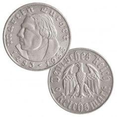 """Deutsches Reich 2 Reichsmark 1933 """"Zum 450. Geburtstag von Martin Luther"""", 625er Silber, 8g, Ø 25mm, Jaeger-Nr. 352"""