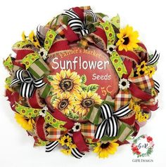 Fall Sunflower Wreath, Red Yellow Fall Wreath, Harvest Wreath, Autumn wreath, Fall Country Wreath Nothing says Fall like Sunflowers and this beautiful. Autumn Wreaths For Front Door, Country Wreaths, Fall Wreaths, Burlap Wreaths, Door Wreaths, Thanksgiving Wreaths, Thanksgiving Decorations, Christmas Centerpieces, Tobacco Basket Decor