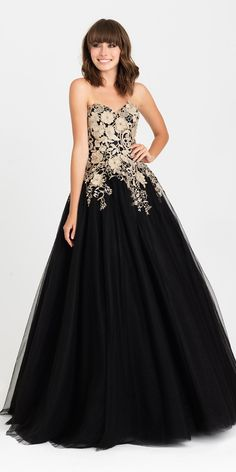 Madison James 16-434 Prom Dress. Colors: Black/Gold, Fuchsia, Emerald. Size: 0-12