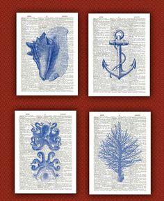 Octopus, seashells, coral, anchor  4 prints Set, Ocean Blue nautical Prints,  beach decor cottage wall hangings anchor Print  Dictionary