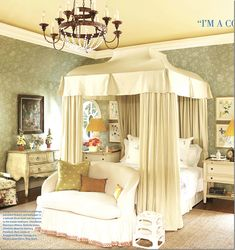 Charlotte Moss' bedroom--This is one of the prettiest, most livable master's I've seen.  High ceilings, but not too grand.