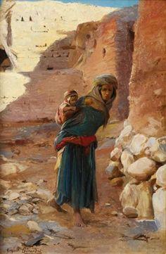 """Mother and Child in El Kantara"" by Eugene Alexis Girardet Islamic World, Islamic Art, Modern Art Pictures, Mediterranean Art, Arabian Art, Historical Art, Mother And Child, Art Photography, Fine Art"
