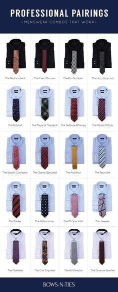 Each job has its own set of rules and its own dress code. We picked out 20 dapper dress shirt + tie combos for 20 popular job professions for Do you agree Suit Fashion, Mens Fashion, Fashion Outfits, Fashion Tips, Fashion Menswear, Style Fashion, Travel Fashion, Business Mode, Business Attire For Men