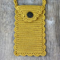 Crochet Phone Pouch Mustard phone case with long crossbody strap Cell phone purse - Love Crochet, Crochet Gifts, Easy Crochet, Knit Crochet, Pochette Portable, Crochet Stitches, Crochet Patterns, Crochet Phone Cover, Crochet Mobile