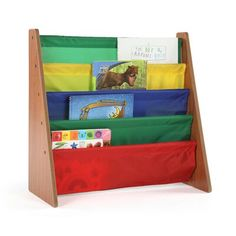 The space-saving Tot Tutors Kids Book Rack Storage Bookshelf with book storage sling pockets displays book covers forward for easy recognition by young children. The 5 colorful, deep, sleeves hold books of almost any size for easy book viewing. Book Display Stand, Highlights Kids, Kids Storage, Book Storage, Fabric Storage, Bookshelves Kids, Bookcases, Book Racks, Wood Book