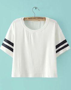 White Striped Short Sleeve Crop Top