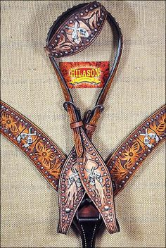 BHPA493RODBCN059-HILASON LEATHER WESTERN HORSE ONE EAR HEADSTALL BREAST COLLAR CROSS GUN CONCHO