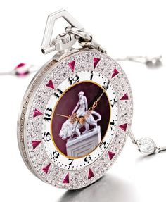 LONGINES A FINE AND RARE PLATINUM, ENAMEL, DIAMOND- AND SYNTHETIC RUBY- SET OPEN-FACED WATCH, RETAILED BY DIENER HERMANOS, MEXICO CITY 1921 NO 3069143