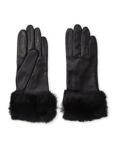 Rabbit Fur Trim Leather Gloves