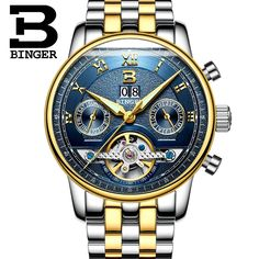 62.00$  Buy here - http://aivkk.worlditems.win/all/product.php?id=32782145527 - Mens Watches Top Brand Luxury BINGER Men Sport Tourbillon Automatic Mechanical Full Steel Wristwatch  relogio masculino Blue dia