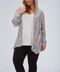 Look what I found on #zulily! Heather White Drape Hooded Open Cardigan - Plus by Marika #zulilyfinds