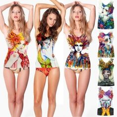 Women's Colored Painting Printing Vest Stretch Bodycon One Piece Slim Fit Tank Tops