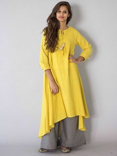 Yellow Chidiya Tassel Khadi Kurta with Grey Palazzo - Set of 2 – The Loom