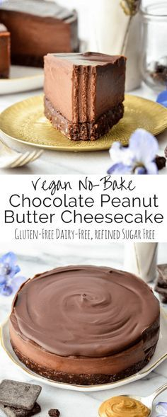 This No-Bake Vegan Chocolate Peanut Butter Cheesecake recipe is a healthy yet de. This No-Bake Vegan Chocolate Peanut Butter Cheesecake recipe is a healthy yet decadent dessert! Gluten-free, dairy-free, vegan, and paleo-friendly! Desserts Végétaliens, Vegan Dessert Recipes, Dairy Free Recipes, Paleo Recipes, Kitchen Recipes, Healthy Cheesecake Recipes, Raw Cheesecake, Simple Easy Cheesecake Recipe, Dinner Recipes