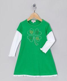 Sofi Green & White Shamrock Layered Dress - Toddler & Girls - Made in the USA by Sofi