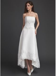 Wedding Dresses - $162.99 - A-Line/Princess Strapless Asymmetrical Organza Wedding Dress With Ruffle Lace Beading Sequins  http://www.dressfirst.com/A-Line-Princess-Strapless-Asymmetrical-Organza-Wedding-Dress-With-Ruffle-Lace-Beading-Sequins-002011491-g11491