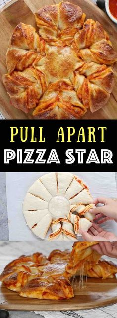 Pull Apart Pizza Star - warm, cheesy and pull apart Pizza! The easiest and fun pizza recipe that can be prepared in 5 minutes and ready in 20 minutes. All you need is only 5 ingredients: refrigerated pizza dough, marinara sauce, shredded mozzarella, egg and water. The perfect snack, lunch or quick dinner. Fun for game day too, and you will wow your guests! Quick and easy recipe. Party food, easy dinner. Video recipe. | Tipbuzz.com #RecipesForDinner