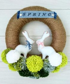 Holiday Ornaments, Christmas Crafts, Diy And Crafts, Crafts For Kids, Crochet Wreath, Pom Pom Wreath, Pom Pom Crafts, Easter Crochet, Craft Wedding