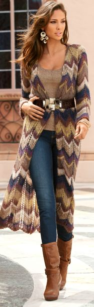 Long knitted jacket over jeans