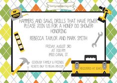 Tools and Toolbox on Argyle Honey Do Party and/or Couples Shower-Printable Invitation on Etsy, $15.00