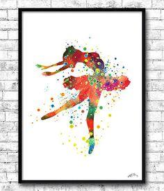 Ballerina Watercolor Print Wall Art Poster Children's by ArtsPrint