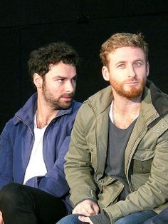 "Dean O'Gorman & Aidan Turner Dean's all like; ""I sense someone staring."" Aidan's all like; ""He has something on his collar and it's bothering the crap out of me."""