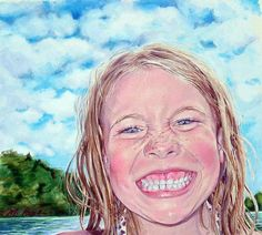 Swimmer original colored pencil by Margi Hopkins of by MargiH, $450.00
