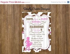 SALE Cowgirl PERSONALIZED Invitation 5x7 by SimplyCreateDesigns, $4.80 Toppers and banner & cupcake wrappers