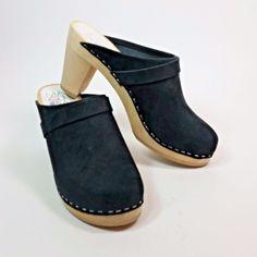 Maguba Swedish Handmade Black Suede Mules Clogs Wooden Heels EUR 37  USA 7 #Maguba #Mules #Casual
