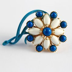 Vintage Milk-Glass and Blue Daisy Brooch, $15.00