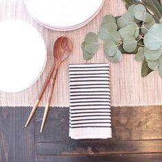 SALE / Natural Linen Modern Striped Cloth Napkin by LoftStudios