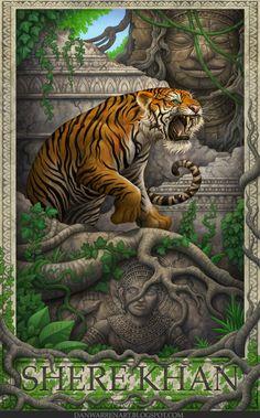 The Jungle Book- Shere Khan, an art print by daniel warren Big Cats Art, Cat Art, Rudyard Kipling Jungle Book, Tiger Art, Kung Fu Panda, Tarzan, Disney Villains, Disney Wallpaper, Disney Art