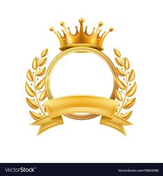 Gold crown laurel wreath winner frame isolated vector image on VectorStock Ribbon Png, Crown Tattoo Design, Certificate Design Template, Gold Banner, Crown Logo, Luxury Logo, Laurel Wreath, Lettering Styles, Photo Logo