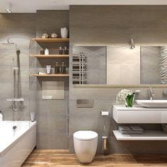 Ванная комната в постельных тонах, современный дизайн. Подвесная раковина, компактный унитаз, большое зеркало. #современный_дизайн_ванной_комнаты
