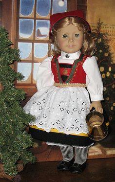 "Another version of a Norwegian Bunad American Girl character ""Kristin"" __ wearing Norwegian Bunad. American Doll Clothes, Ag Doll Clothes, Doll Clothes Patterns, Doll Patterns, Dress Patterns, Ag Dolls, Girl Dolls, America Girl, Doll Costume"