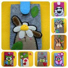 Phone Case by meialua. Yarn Crafts, Fabric Crafts, Felt Phone Cases, Magic For Kids, Felt Bookmark, Felt Pouch, Felt Gifts, Fabric Postcards, Felt Books
