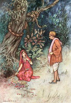 Folk Tales of Bengal 1912 Take this gold & precious stones Canvas Art - Warwick Goble x Art And Illustration, Vintage Illustrations, Art Nouveau, Art Deco, Warwick Goble, India Art, Fairytale Art, Arabian Nights, Fairy Tales