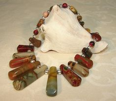 Beautiful Picasso Jasper Gemstone Fan Beaded by ArtisticTouches, $42.00