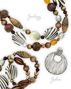 "Premier Designs 2013 Collection - ""Zoology"" necklace and bracelet with ""Zebra"" enhancer"